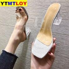 New Summer Gold Sandals Clear High Heels Slippers Women Sandals