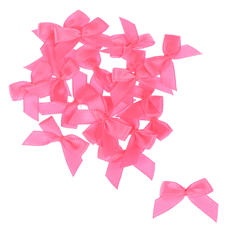 20Pcs Handmade Small Size Polyester Satin Ribbon Bow Flower 5 Color DIY Craft Decoration