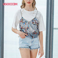 UGOCCAM Ladies Tshirt Women Sequins Two piece Vest and Shirt Design Cotton Korean Style Ulzzang Summer Fashion Casual