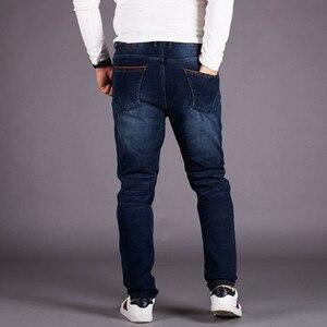 Image 3 - Джинсы мужские зимние с флисовой подкладкой, теплые облегающие брюки из денима, с эластичной завышенной талией, синие, размеры 5XL 6XL