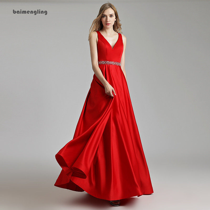 red prom dress, simple v-neck cheap dress