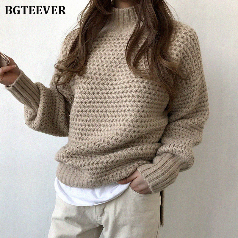 BGTEEVER Elegant Turtleneck Thick Women Sweater Winter Striped Jumpers Female Brief Loose Knit Pullovers 2019 Warm Sweater Tops