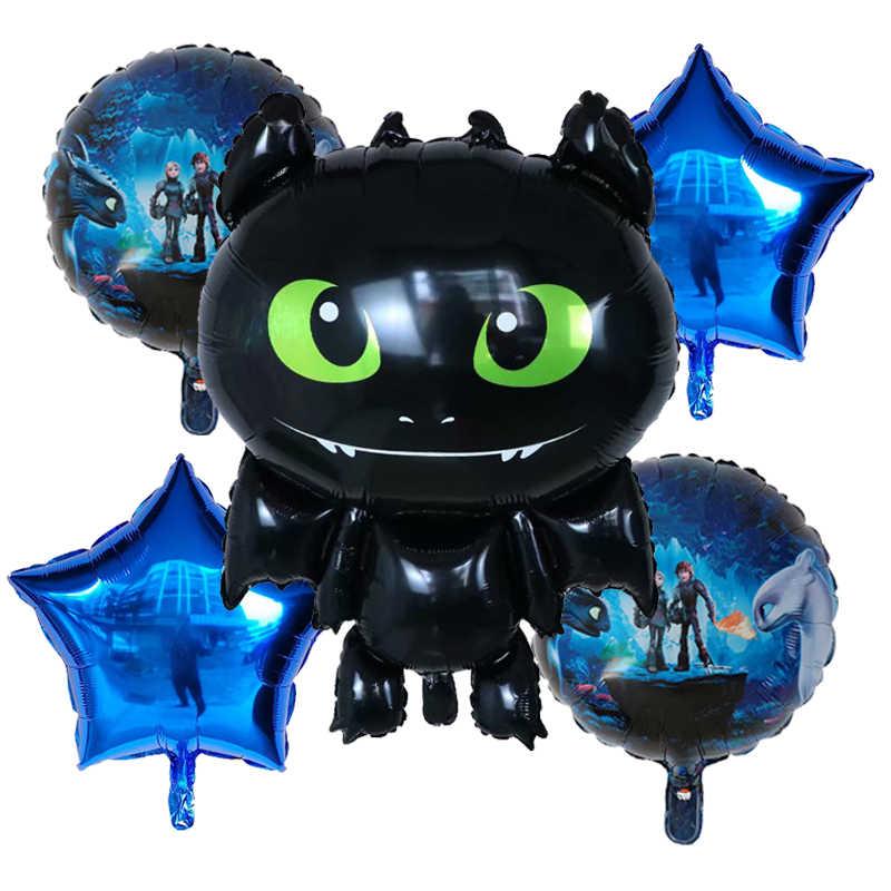 5 sztuk Combo jak wytresować czarny smok urodziny balony foliowe zestaw Birthday Party Supplies motywu gry dekoracje dla dzieci zabawki dla chłopca