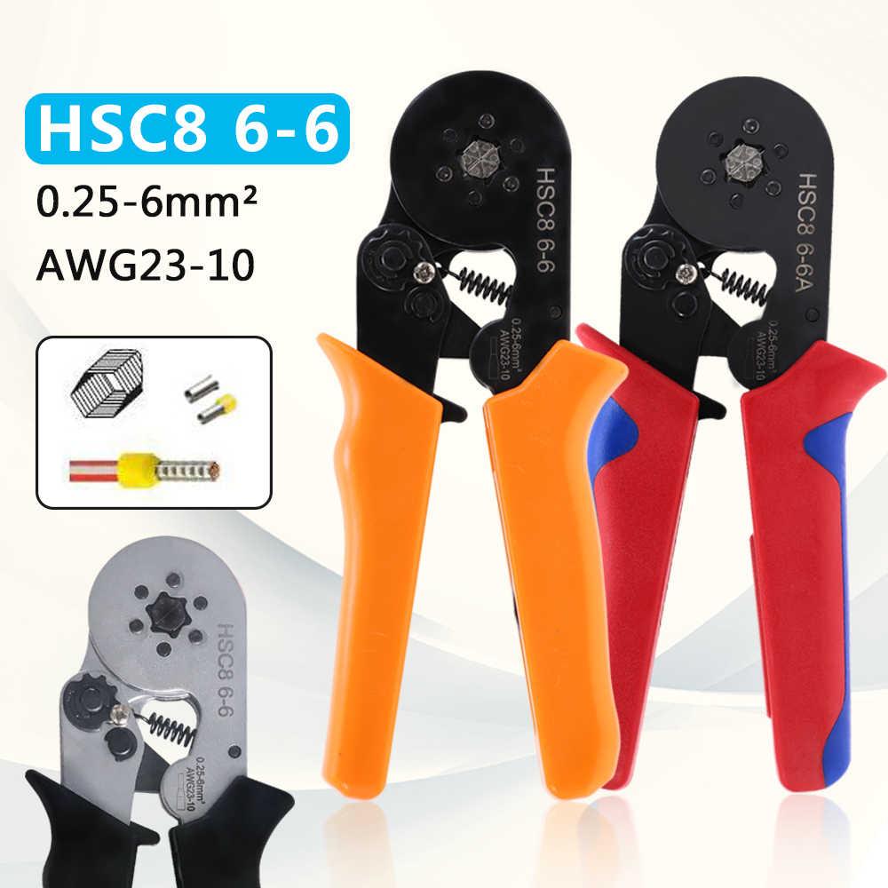 HSC8 6-4A HSC8 6-6 管状端子圧着ツールミニ電気プライヤー 23-7AWG 6-4A/6-6A 0.25-6mm2 高精度クランプセット