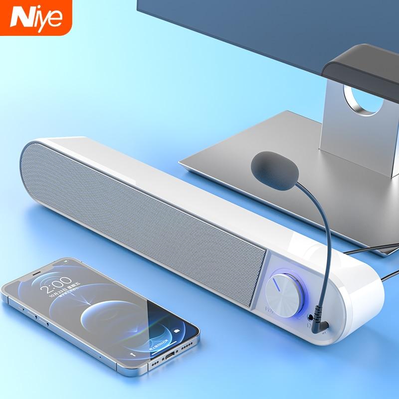 Bluetooth компьютер Динамик бар Беспроводной Динамик s микрофон Hi-Fi стерео сабвуфер проводной клавиатуры для ноутбука ПК автомобиля Aux 3,5 мм гром...