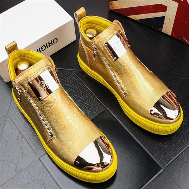 Zapatillas de cuero dorado para Hombre, zapatos informales Punk, Hip Hop, botines planos con cremallera 4