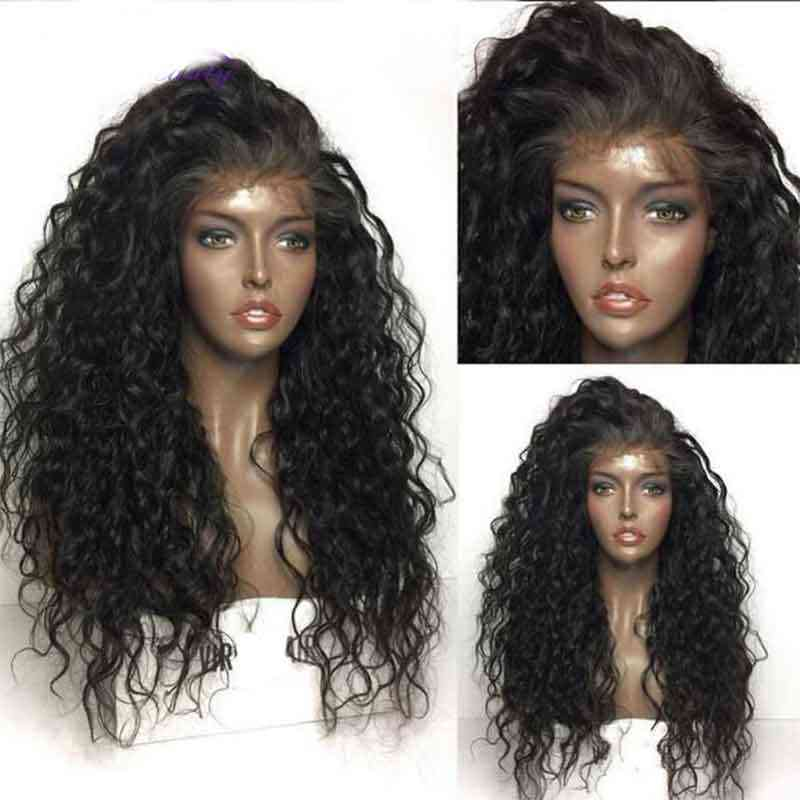 Peluca Invisible de encaje HD Peluca de onda de agua predesplumada nudos blanqueados negro falso cuero cabelludo Remy mujeres 360 peluca Frontal transparente