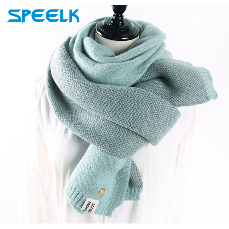 2019 Cashmere Scarves Women Autumn Winter Double-sided Embroidery Pineapple Wraps Scarf Lady Thick Warm Mesh Scarf Shawl