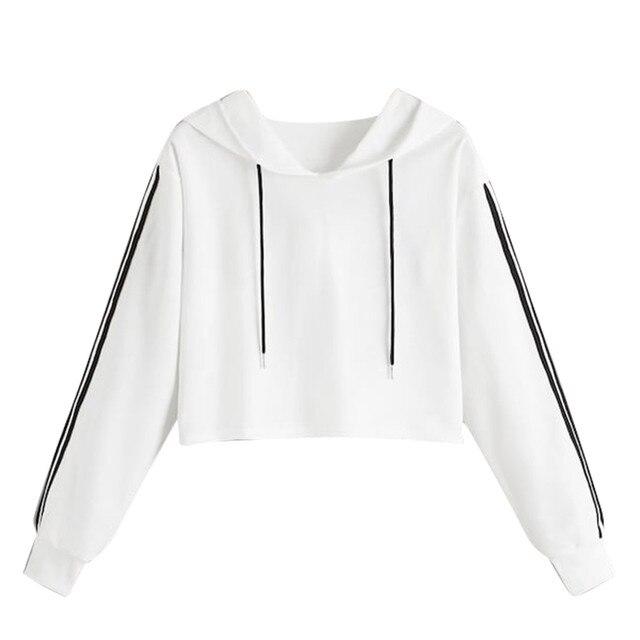 Womens crop top hoodie Letter Long Sleeve Splice Pullover Hooded Sweatshirt Short Tops Blouse korean style women sudaderas mujer