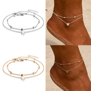 Anklets Link-Chain Foot-Jewelry Gold Silver-Color Heart Women Beads Leg Beach SLZBCY