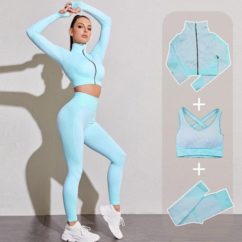 Bezszwowe kobiety joga siłownia garnitury sportowe Fitness trening strój do biegania odzież sportowa z długim rękawem krótki Top legginsy biustonosz sportowy zestaw