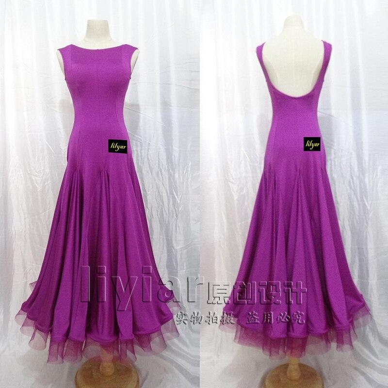 Ballroom Dance Competition Dresses Waltz Dress Standard Dance Dresses with Waist Belt Mesh Bust Big Hem latin dress