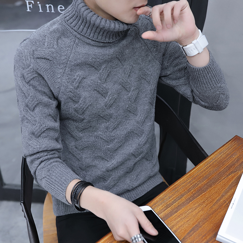 Autumn And Winter Korean Version Of The Slim Men's High Collar Thick Solid Color Sweater Fashion Pullover Sweater