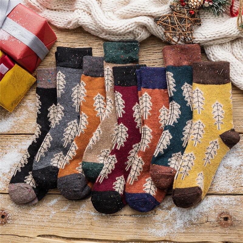 Men Fashion Christmas Tree Wool Happy Socks Warm Comfortable Casual Couples Harajuku Socks Novelty Skateboard Sox Original