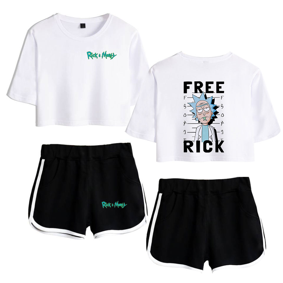 Rick And Morti 4 2 Pieces Set Fashion Women Crop Tops + Shorts Suit Rick And Morty Clothing Breathable Expose Navel Drawstring