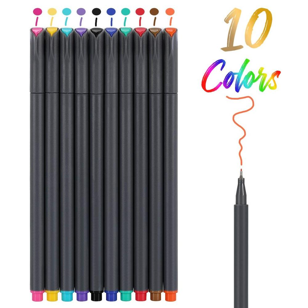 10 Color Fine Line Drawing Pen Set 0.38mm Fineliner Marker Liner For Journal Notebook Cartoon Paint Office Planner School A6954