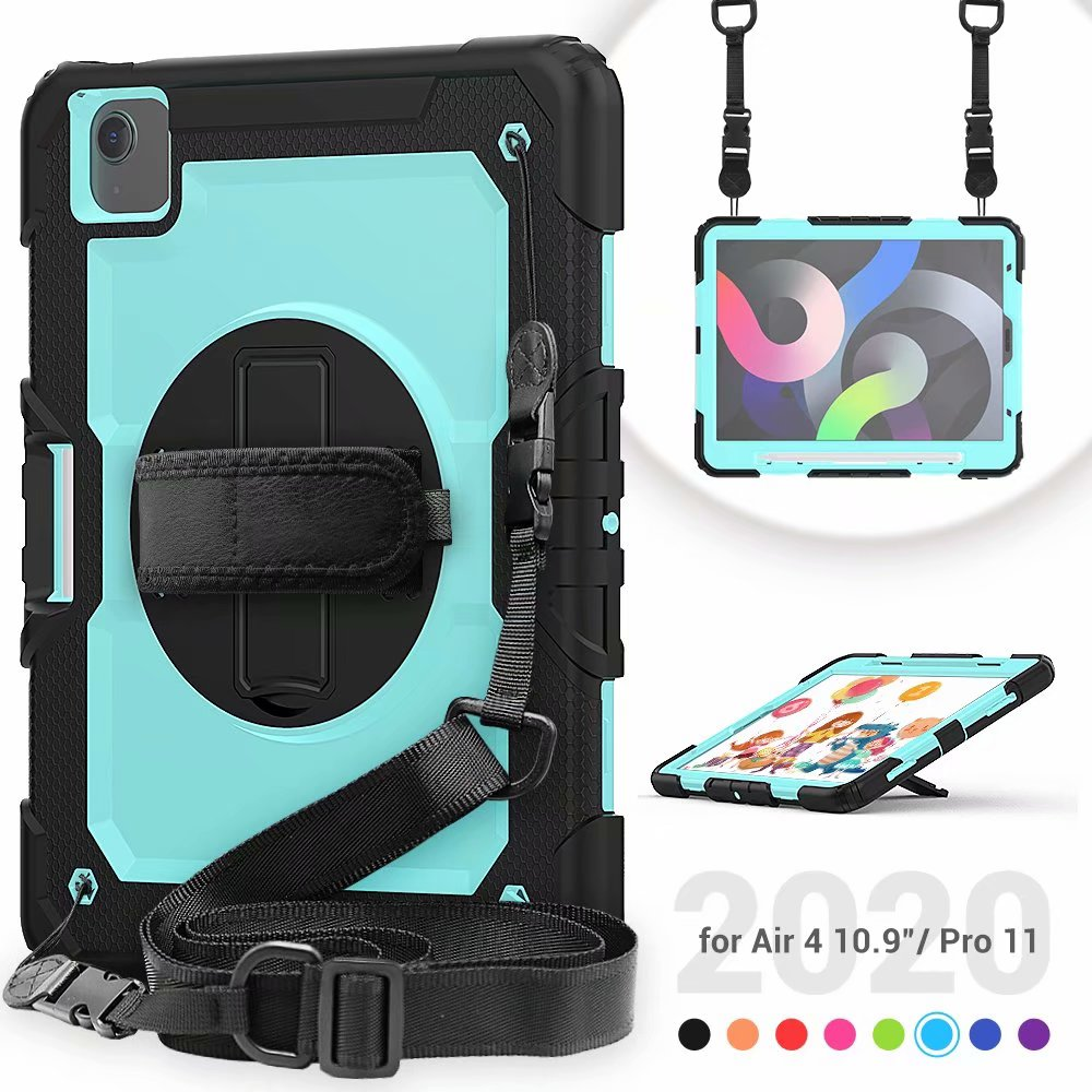 4th Screen Case For Silicone Protective Kickstand with Duty Heavy iPad Air Film Generation