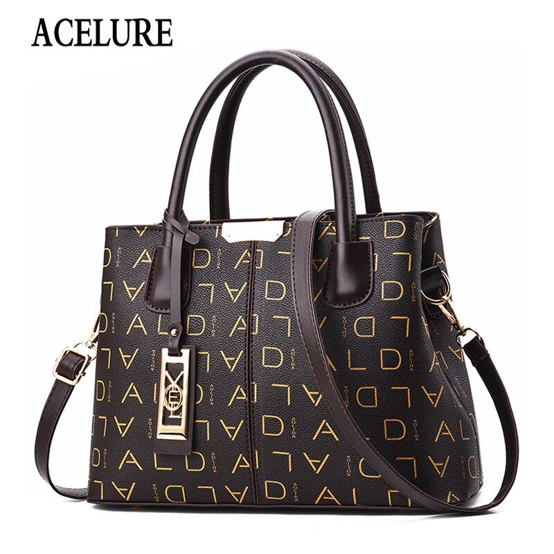 ACELURE Soft Letter PU Leather Women Shoulder Bags Solid Color Fashion All-match Handbags Ladies Designer Shopping Purses Clutch