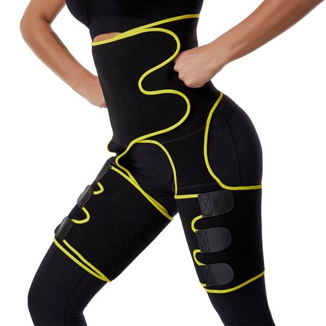 3 in 1 Women Neoprene Sweat Waist Trainer Thigh Support Waist Trimmer Belt for Women Tummy Control Waist Trainer Sweat Shapewear 4