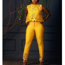 Popular openwork design two-piece suit African clothing Stitching office womens temperament large size yellow pink