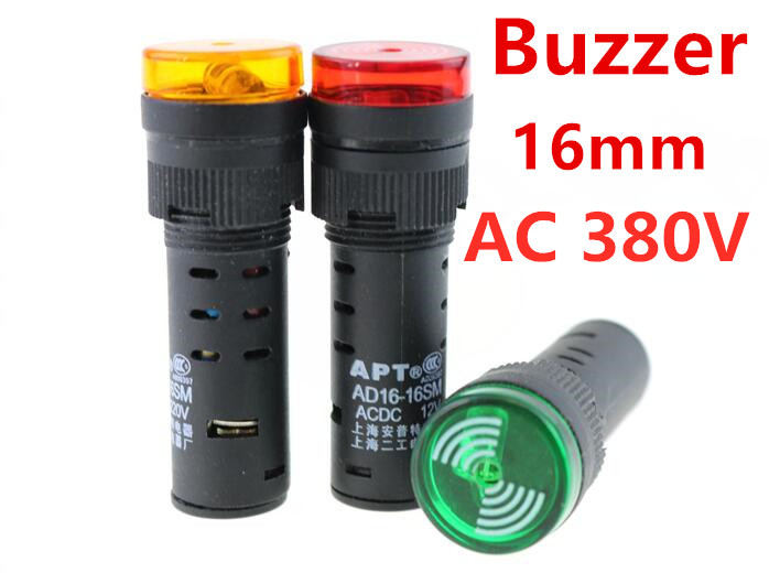 Buzzer AD16-16SM AC 380V 16mm Sound And Light Flashing Buzzer Alarm AD16