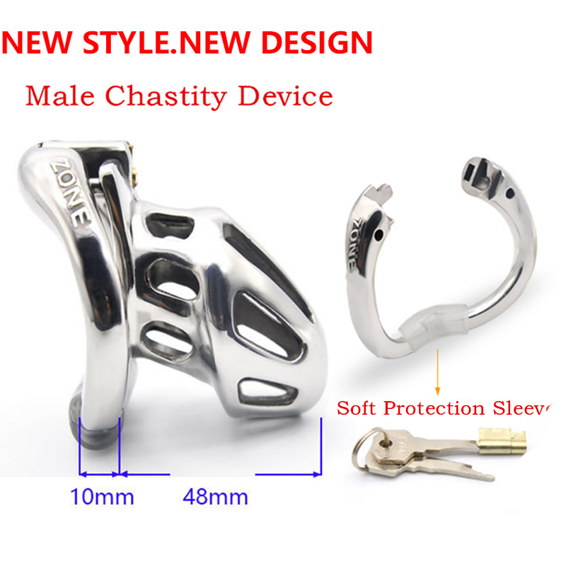 New Penis Cage Male Chastity Cage Cock Lock Ring Cock Cages Chastity Device Male Stainless Steel Restraint Ring Sex Toys For Men