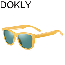 DOKLY Unisex Yellow frame green lens Sunglasses Mirror Oculos Sun Glasses Gafas