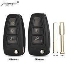 Jingyuqin-carcasa plegable para llave remota de coche, funda de 3 botones para Ford Focus Mondeo Fiesta 2013 Fob con hoja HU101