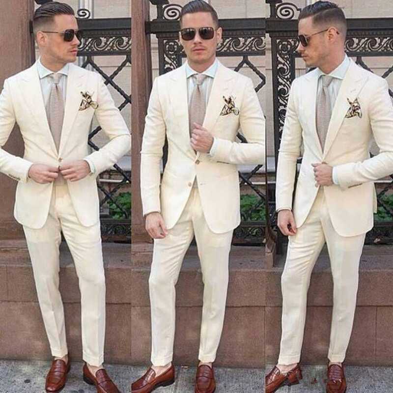 77Ivory Wedding Tuxedos For Groom Wear Peaked Lapel Blazer Classic Fit Two Piece Custom Made Men Suits (Jacket + Pants)