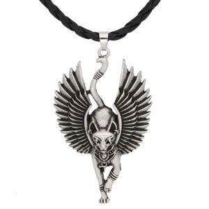 Kolor srebrny starożytny egipski posąg statua wisiorek z kotem naszyjnik egipski sfinks WICCA pagan kot naszyjnik biżuteria amulet neutralny