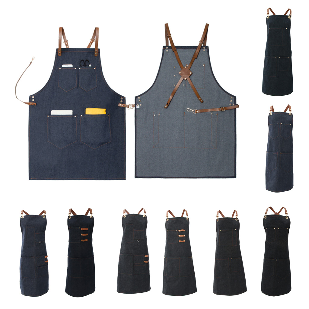 Ladies Men Leather Strap Denim Bib Apron BBQ Florist Baker Bartender Barista Chef Work Uniform