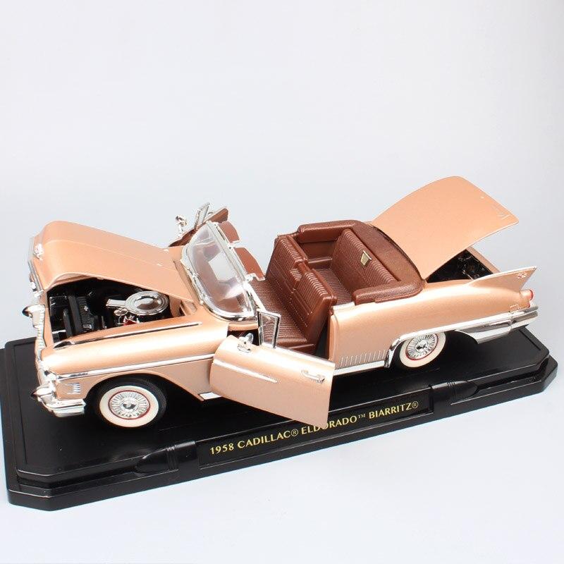 1/18 grande échelle voiture classiques vieux 1958 Cadillac Eldorado Biarrotz Fleetwood moulé sous pression jouet véhicule voitures modèle miniature cadeau enfants garçon