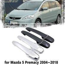 Alça de Fibra de Carbono preto Ou Cromo Porta Lateral Da Tampa Da Guarnição Set para Mazda Premacy 5 2004 ~ 2018 Acessórios Do Carro 2005 2006 2007 2008