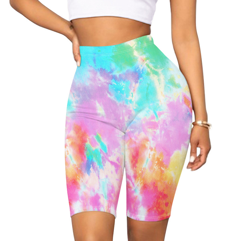 Newest Arrival Women Mid Thigh Stretch Short Leggings High Waist Colorful Tie Dye Yoga Bicycle Capri Shorts Sweatpants Outfits