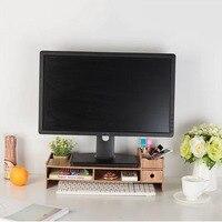 Multi function Desktop Monitor Stand Computer Screen Riser Wood Shelf Plinth Strong Laptop Stand Desk Holder for Notebook TV