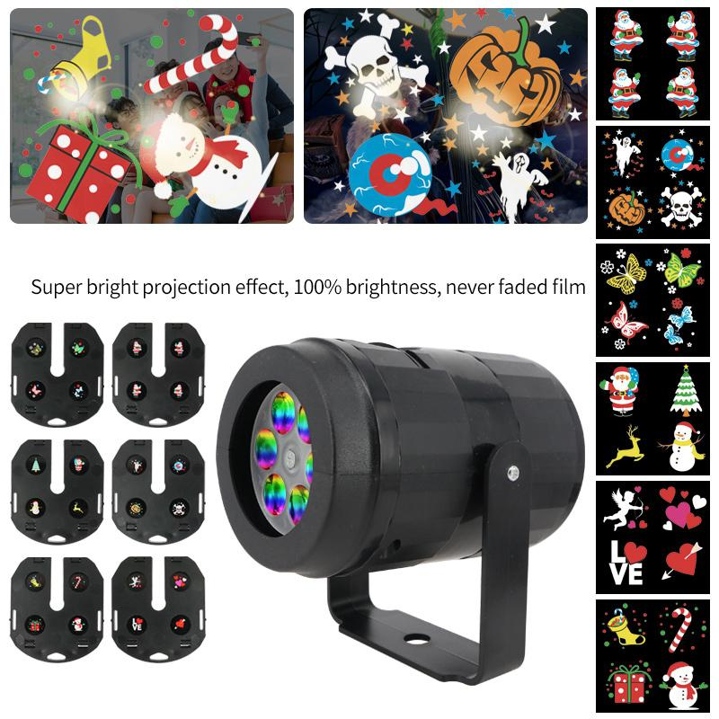 6 Patterns Christmas LED Projector Light Disco Stage Light Laser Snowflake Snowman Projection Outdoor Waterproof House Decor
