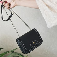 2019 New Korean Version The Shoulder Bag Trend Wild Messenger Simple Solid Color Small Square PU Leather