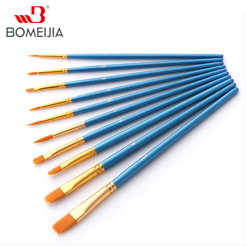 BOMEIJIA 10pcs/pack Paint Brushes Set Painting Art Brush for Acrylic Oil Watercolor Artist Professional Painting Kits