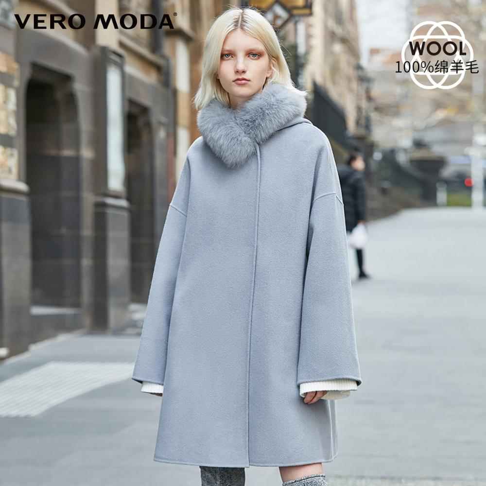 Vero Moda New 100% Wool Double-faced Fox Fur Pure Lace-up Woolen Overcoat | 319327530