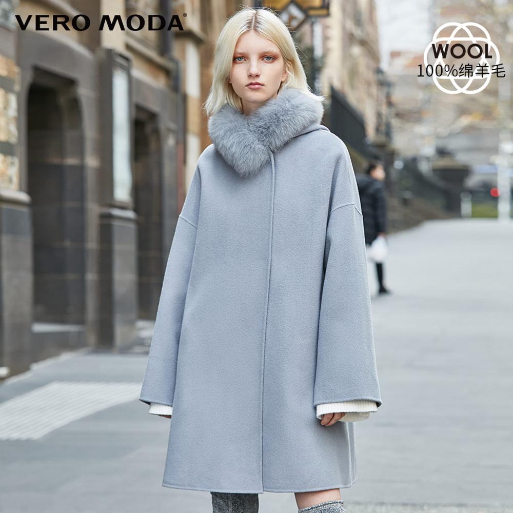 Vero Moda New 100% Wool Double-faced Fox Fur Pure Lace-up Woolen Overcoat | 319327530