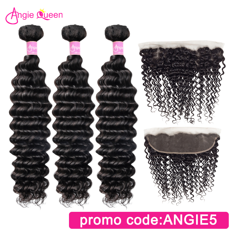 Deep Wave Bundles With Closure Frontal Peruvian Remy Hair Bundles With Closure 3 Bundles With Frontal Sew In Human Hair 22 24 26