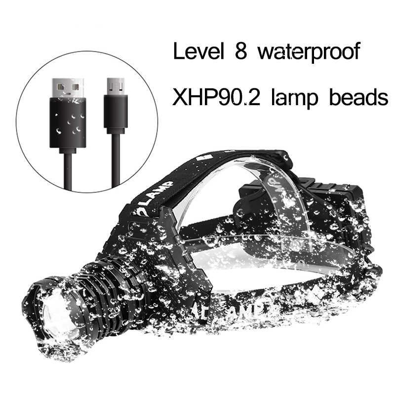 ほとんどの強力なXHP90.2 ledヘッドランプ8000LMヘッドランプusb充電式ヘッドライト防水zooma集魚灯使用18650バッテリー