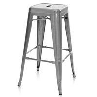 Artiss 2PCS Metal Backless Stools Metallic Grey Dining Room Furniture Stylish Dining Chair Durable Seat Fittings For Coffee AU