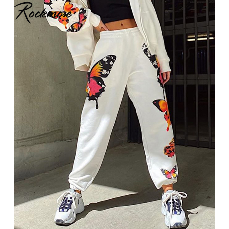 Rockmore Butterfly Print Sweatpants Women Plus Size Pencil Pants Harajuku Loose Joggers Cute High Waisted Trousers Streetwear