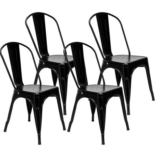 4pcs Industrial Style Iron Sheet Chair Black for Restaurants Pubs Cafes And Multiplayer Gatherings Dining chair 4
