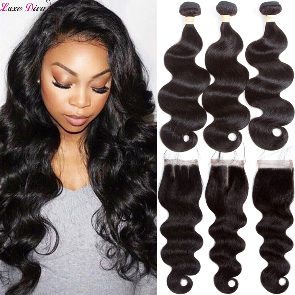 Luxediva Body Wave Hair Bundles With Closure Brazilian Hair Weave Bundles With Closure Human Hair Bundles With Lace Closure Remy