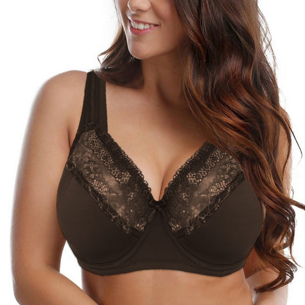 Womens Lace Bras Bralette Underwired Perspective Brassiere Big Bust Comfort  Sexy Lingerie Relaxed Underwear D DD E F G Cup