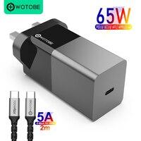 WOTOBE GaN cargador de pared USB C PD 65W 20W QC3.0 tipo C portátiles ipad iphone 12/SE S10/S20/Note10/9 XPS HP Reino Unido Lenovo ThinkPad