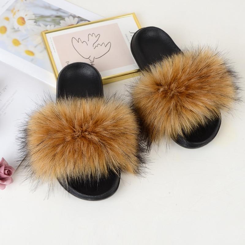 Faux Fur Slides Harige Slipper Vrouwen Zomer Schoenen Sandalen Dames Pluizige Slides Groothandel Designer Fashion Luxe Pluche Slippers