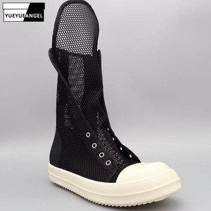 Обувь с высоким берцем на шнуровке Роскошные сникерсы кроссовки Обувь с дышащей сеткой полые повседневные сандалии Брендовая обувь с засте...